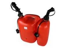 chainsaw fuel and oil combi canister with filling spout for fuel (anti spill) holds 5 litres fuel and 3 litres oil - red