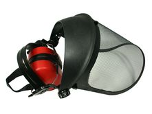 face shield protection Pro (steel mesh screen) with earmuffs